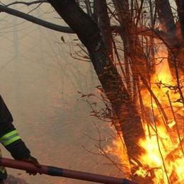 Vasto incendio boschivo  sui monti di Introzzo a Subiale